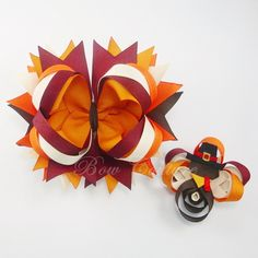 fall hair bow ideas for girls   Fall & Thanksgiving Hair Bow Fashion Accessory   Family Holiday