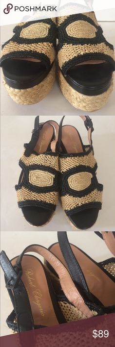 New Robert Clergerie Antic Raffia Platforms 37.5 New without box. Authentic Robert Clergerie 'Antic' Platform Raffia sandals in Size 37.5. No trades, but accepting reasonable offers! Robert Clergerie Shoes Wedges