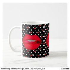 Rockabilly cherry red lips coffee mug