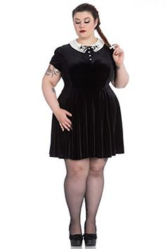 555f3b69fa Fashion Bug Plus Size Gothic Wednesday Addams Spiderweb Miss Muffet Mini  Dress (2X) www