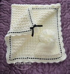 Free Crochet Pattern Baby blanket with Matching Crochet Baby Hat More
