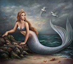 Mermaid Artwork, Mermaid Drawings, Mermaid Tattoos, Mermaid Paintings, Fantasy Mermaids, Unicorns And Mermaids, Mermaids And Mermen, Fantasy Creatures, Mythical Creatures