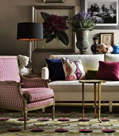 Lillian August Collection by Hickory White Furniture. Loving the Bold, Colourful Prints.
