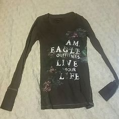 American Eagle outfitters Kind of desserts  looking  suppose to look  that way v-neck American Eagle Outfitters Tops Tees - Long Sleeve