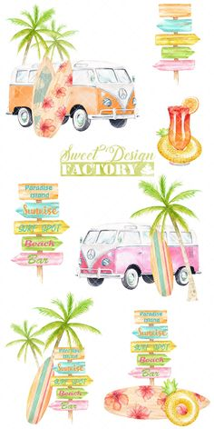 Watercolor surf clipart by Sweetdesignfactory on Beach Clipart, Summer Clipart, Wolkswagen Van, Vans Vintage, Travel Clipart, Stock Art, Textile Prints, Drawing, Stickers