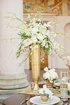 Tall gold and white wedding centerpiece #goldwedding