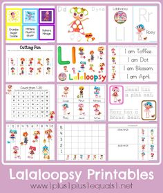 Lalaloopsy learning printables...these are so cute and the girls will love them!