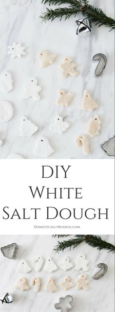 you want to create white salt dough ornaments this Christmas you will love this DIY recipe for how to whiten salt dough!If you want to create white salt dough ornaments this Christmas you will love this DIY recipe for how to whiten salt dough! Salt Dough Projects, Salt Dough Crafts, Salt Dough Handprints, Salt Dough Christmas Ornaments, Clay Ornaments, Homemade Ornaments, Homemade Christmas, White Ornaments, Ornaments Ideas