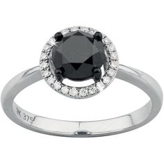 Black Diamond & Diamond Halo Ring in White Gold Halo Diamond, Black Diamond, Halo Rings, White Gold, Wedding Rings, Engagement Rings, Amp, Jewelry, Enagement Rings
