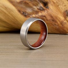 Mens Anium And Brazilian Cherry Wedding Ring With Beveled Edges Pinterest Weddings Unique Rings