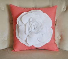 ALL ITEMS ARE MADE TO ORDER PLEASE SEE SHOP FOR CURRENT CREATION TIME!!!  Large White Rose on Coral Pillow. 14 x14 larger sizes can be made please