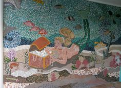 my completed entry way mosaic wall mural - 11' wide x 8' tall.