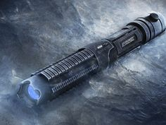 Arctic laser by Wicked Lasers.  Yes.  It looks like a light saber.  It can also burn holes in stuff that needs holes burned in it.  That is why it is awesome :-)