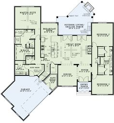 First Floor Plan of Craftsman   European   House Plan 82166