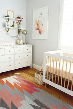 Emerson Grey Designs : Nursery Interior Designer: Blossom {a completed girl nursery} Nursery Dresser, Nursery Shelves, Nursery Room, Girl Nursery, Nursery Ideas, Babies Nursery, Nursery Decor, Wall Decor, Room Shelves