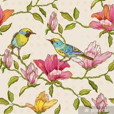 Illustration of Vintage Seamless Background - Flowers and Birds vector art, clipart and stock vectors. Art Et Illustration, Illustrations, Scrapbook Designs, Seamless Background, Background Vintage, Bird Design, Free Vector Art, Fabric Decor, Vintage Cards
