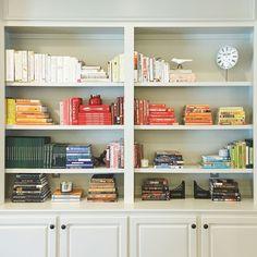 Color coordinated cookbooks.