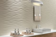 Check out the 3D texture effect our ivory sand wall tile gives to this bathroom. Also available in gun metal grey, brown and white. Now available at Nerang Tiles. #tile #tiles #tileideas #tiledesigns #floortiles #walltiles #featuretiles #bathroomtiles #bathroomdesigns #bathroomideas #interiordesign #bathroom #bathrooms  #interiordesigns #tilingideas