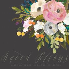 Hand Painted Flower Clip Art Collection Muted by CreateTheCut
