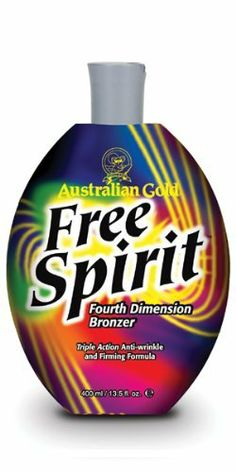 Australian Gold Free Spirit Tanning Lotion Fourth Dimension Bronzer 13.5 oz by Australian Gold. $44.95. Free SpiritTM is a Sensational Fourth Dimension Bronzing Lotion.   Your free spirit doesn't wait for anything, including a deep, dark tan. Your wait is over with Free SpiritTM lotion. This remarkably effective dark lotion utilizes a combination of immediate and delayed bronzers and firming and slimming ingrediants to deliver the darkest color and healthiest, best ...