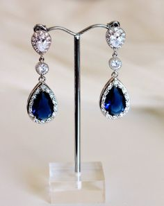 Sapphire Blue Wedding Jewelry Crystal Bridal Earrings Something Blue Wedding Earrings Bridal Jewelry September Birthstone