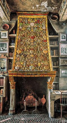 Tiled Fireplace Poster by Ken Curtis ::  This the beautiful fireplace in the Morning Room. Tiles by the Moravian Tile and Pottery Works are found everywhere - floors, ceilings and fireplaces.