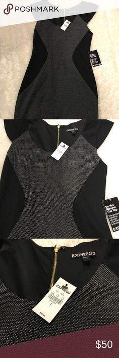 Express bodycon dress Express NWT form fitting dress. Tweed like bodice material outlined by black. Small cap like sleeves. Perfect condition! Dress measures 32.5 inches from shoulder. Beautiful gold zipper down back of dress. Perfect little black dress! Express Dresses Midi