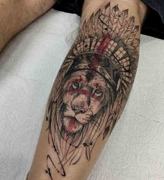 lion tattoo native american style