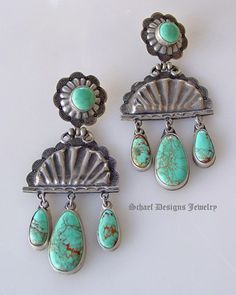 Kingman Turquoise Old Style Concho Chandelier Post Earrings |  | Schaef Designs ~ New Mexico