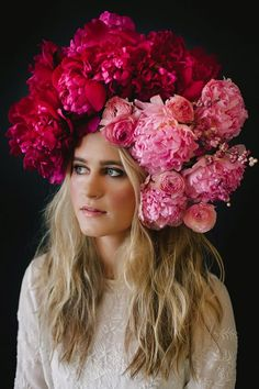 A dramatic floral crown made up of fluffy pink peonies | | Floral design by Ivanka Matsuba | Styling by Anna Korkobcova | Photo by Zack Pianko | Hair and makeup by Katie Nash