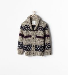 Image 1 de Cardigan jacquard bouton brandebourg de Zara