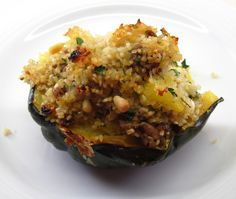 Moroccan-Style Stuffed Acorn Squashes Good Food, Yummy Food, Food Staples, Acorn Squash, Moroccan Style, Fabulous Foods, Lettuce, Cauliflower, Cabbage