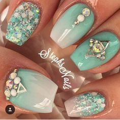 "Teal and gradient ""baby boomers"" with glitter and crystals nail art."
