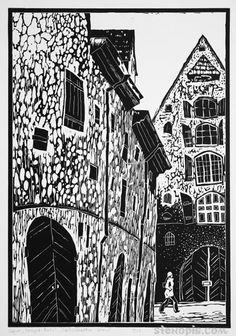 Старая Рига. Линогравюра. СПб. Алексей Иванов. Riga Latvia, Lino Cuts, Block Prints, Old Town, Printmaking, Animation, Graphics, Paintings, Tattoo