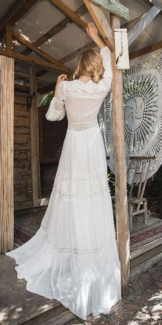 Inbal Raviv 2017 Wedding Dresses : White Gypsy bridal collection - inspired by the beautiful, free spirited Gypsy world. By using the ideas of the Gypsy style like color combination Backyard Wedding Dresses, Crochet Wedding Dresses, Bohemian Wedding Dresses, White Wedding Dresses, Boho Bride, Bridal Dresses, Wedding Gowns, 2017 Wedding, 2017 Bridal