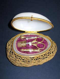 Palais Royal French Opaline Etui on the Nest complete with 5 Sewing Items.
