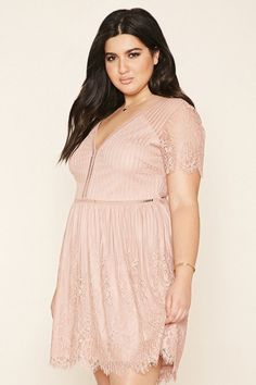 Plus Size Eyelash Lace Dress