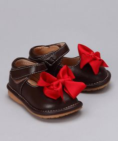 Brown & Red Bow Squeaker Mary Jane