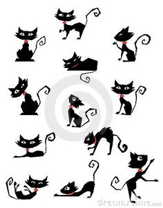 Find Collection Black Cat Silhouettes stock images in HD and millions of other royalty-free stock photos, illustrations and vectors in the Shutterstock collection. Cat Silhouette Tattoos, Black Cat Silhouette, Cat Tat, Cat Quilt, Cat Drawing, Illustrations, Rock Art, Painted Rocks, Sketches