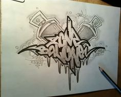 How to Draw Graffiti Sketch Letters 'ZONE BALONE'
