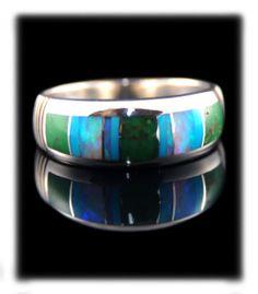 Men's native Rings | Mens Native American Inlay Ring