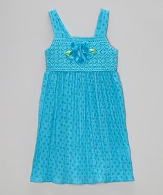 Another great find on #zulily! Turquoise Dot Crocheted Dress - Toddler & Girls by Sweet Heart Rose #zulilyfinds