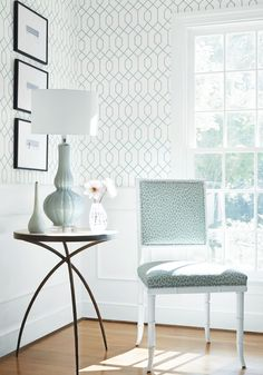 Thibaut Wallpaper - Perfect for our powder room or bulter's pantry to go with our Palladian blue.