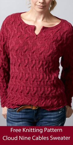 """Long-sleeved pullover knitting pattern with a henley neckline and all over 24 row cable pattern. Written instructions. Knit flat. Sizes Bust: 30-32"""" 34-36"""" 38-40"""". Cloud Nine Cables designed by Sugar Bush Yarns. Sport weight yarn. Cable Knitting, Sweater Knitting Patterns, Free Knitting, Crochet Patterns, Sport Weight Yarn, Knitted Slippers, Cable Knit Sweaters, Knit Crochet, Sugar Bush"""