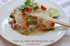Thai Glass Noodle Salad - a quick and easy gluten free summer supper. Gluten Free from knowgluten.me