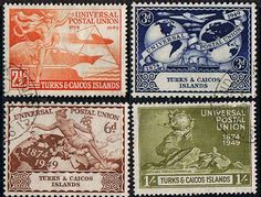 Turks and Caicos Stamps 1949 Universal Postal Union Set Fine Used SG 217 20 Scott 101 4 Other British Commonwealth stamps for sale here