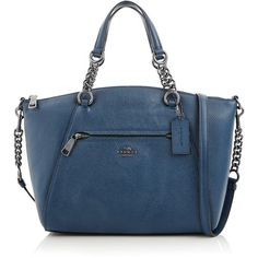 Coach Chain Prairie Satchel Bag ($455) ❤ liked on Polyvore featuring bags, handbags, dark blue, coach purses, satchel purses, leather handbags, leather hand bags and monogrammed leather purse