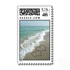 Two Sand Hearts on the Beach, Romantic Ocean Postage Stamp