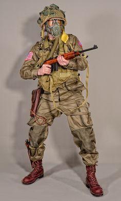Military - uniform US soldiers WW2 airborne 01 by MazUsKarL #warfare #ww2 #airborne #paratrooper #battledress #uniform #soldier #usarmy #niformhistory #military #militaryhistory #war #gasmask