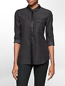 faux leather trim long sleeve top $69.99